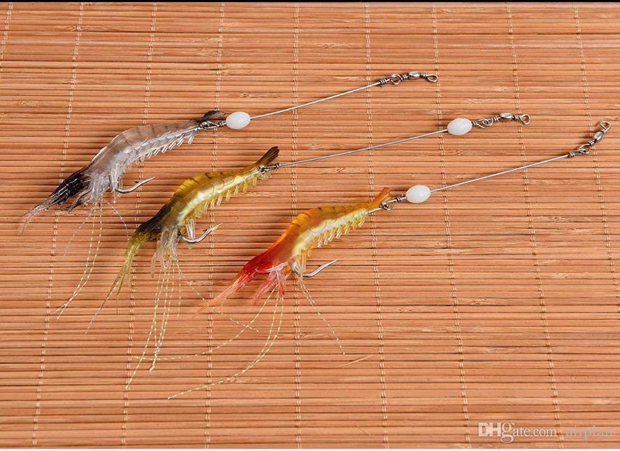 of Topwater Fishing Lure Bionic Shrimp Artificial Lures Soft Bait Luminous Night Glow Bead Fishing Tackle Pesca Hooks