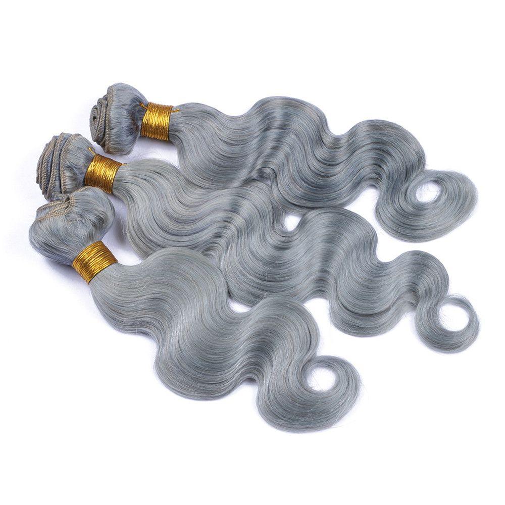Grey Body Wave Hair Peruvian Human Bundles Gray Human Hair Weave Hair Extension Wholesale Price Virgin grey For Sale