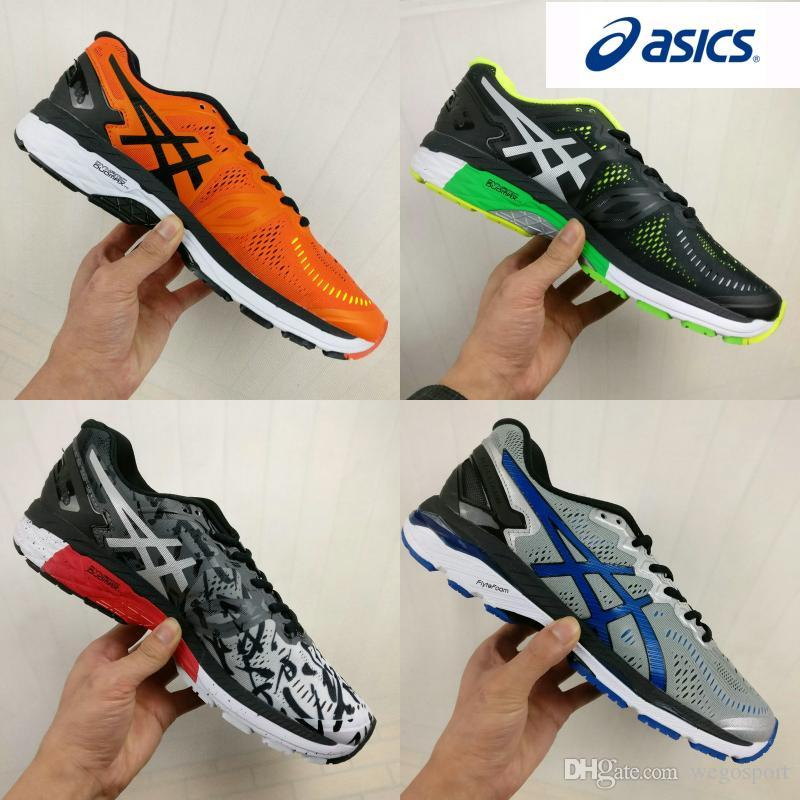 the latest 38dbe a5391 2018 Wholesale Asics Gel-Kayano 23 T646N T648Q T6A2N Shock Absorption  Running Shoes Men Original Stability Wrap Sport Sneakers Boots 40-45