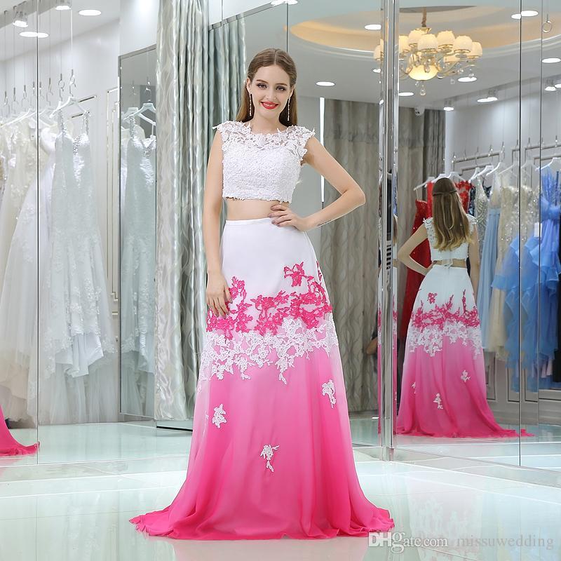 Long Two Pieces Chiffon Prom Dresses Cheap 2017 Gradient Color Lace ...