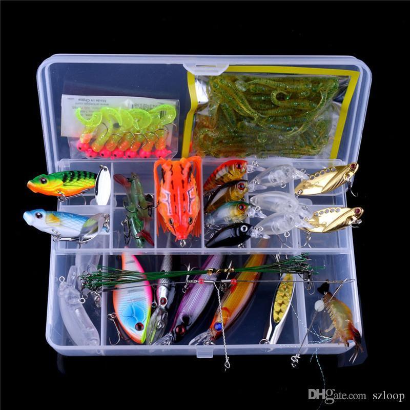 Fishing Lure Set Hard Bait Soft Worm Fishing Line Leader Luminous Shrimp Frog Minnow Metal Sequin Bait Embryo Wholesale 2508060