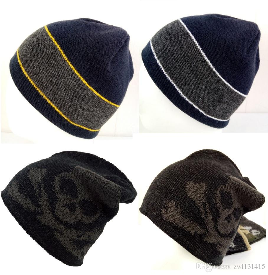 903a6b9c6b4 Winter Knitting Hat Men Women Neutral Personality Skulls Jacquard ...