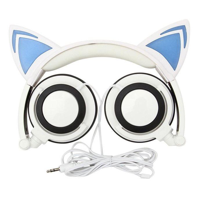 Faltbares blinkendes glühendes Katzen-Ohr Kinderkopfhörer Gaming-Kopfhörer LED-Licht über auf Ohr-Kopfhörern für PC Laptop-Computer Telefon Cosplay