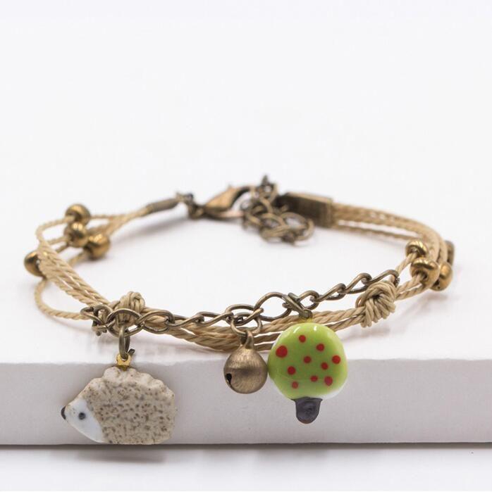 Simple cartoon animals small fresh bell bracelet cute lovers jewelry FB520 a Slap & Snap Bracelets