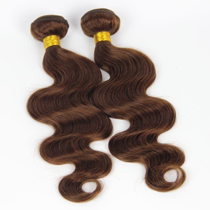 Brazilian Medium Brown Hair Extensions Body Wave Human Hair Wefts Chocolate Brown Brazilian Hair Weave Bundles Pure #