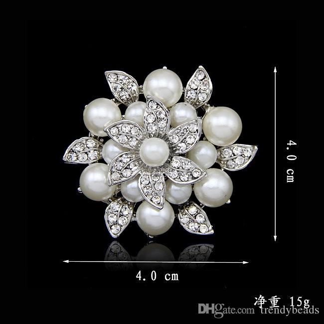 Large Flower Rhinestone Crystal Pearl Diamante Silver Brooch Wedding Bridal Pin