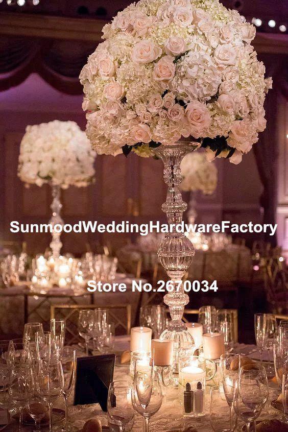 Akrilik kristal kaide standları için çiçekler / akrilik zemin vazo standı / trompet akrilik geçit düğün için standları