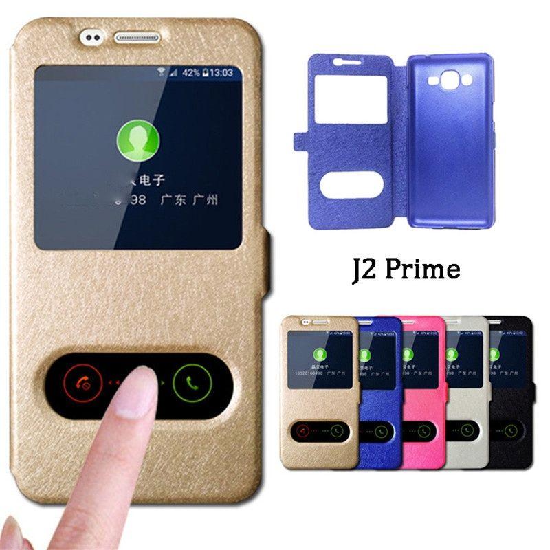 Housses Telephones Portables Pour Samsung Galaxy J2 Prime Cas Reponse Rapide Vue Fenetre Flip Stand Couverture Telephone G532F PU En Cuir