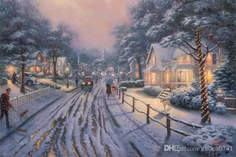 Weihnachtsbilder Hd.Ville De Noël Souvenirs Thomas Kinkade Peintures à L Huile Mur Art Moderne Hd Impression Sur Toile Décoration No Frame