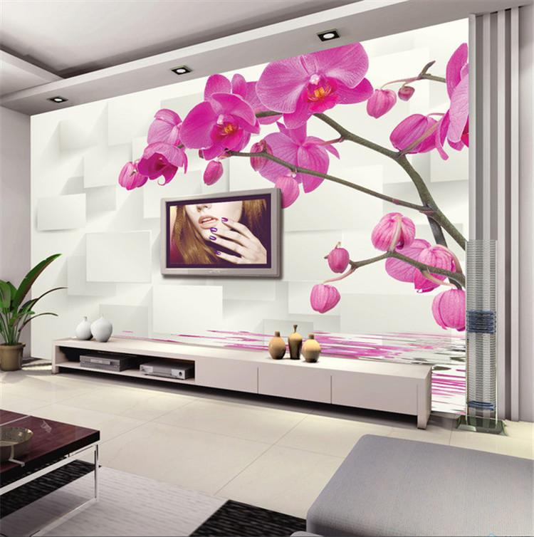 large mural tv background bedroom sofa 3d 3d wallpaper pink moth orchid simple non woven water. Black Bedroom Furniture Sets. Home Design Ideas