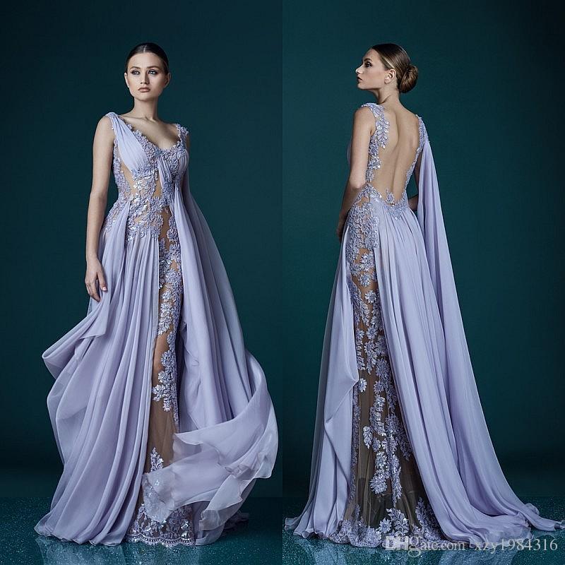 af33fbb1fe Profundo Decote Em V Lavanda Vestidos de Noite Com Envoltório Envoltório  Sheer Backless Vestido de Noite Vestidos de Noite 2017 Impressionante  Chiffon Longo ...