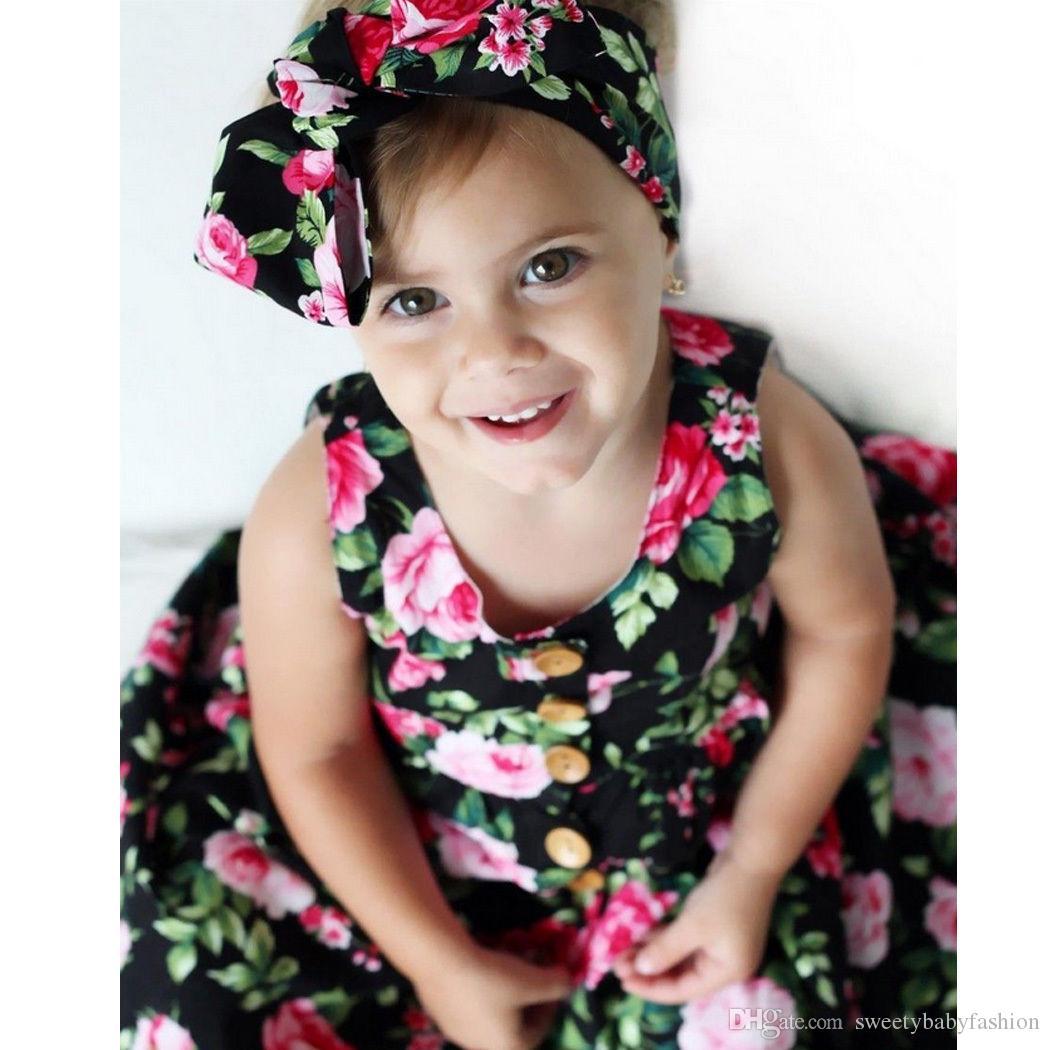 2017 estate bambini pagliaccetto vestiti neonate fiori stampato pagliaccetto senza maniche + archi fasce bambini cotone tuta neonato tuta K002