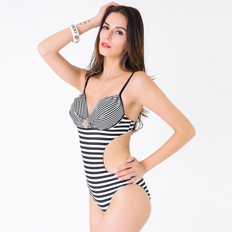 2016 swimwear one piece swimsuit striped bodysuits women bathing suits swim wear onepiece sexy monokini navy Bikini swinsuit