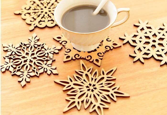 Taza de copo de nieve de madera posavasos Holder Chic Drinks Coffee Tea Cup Mat Decor Mats