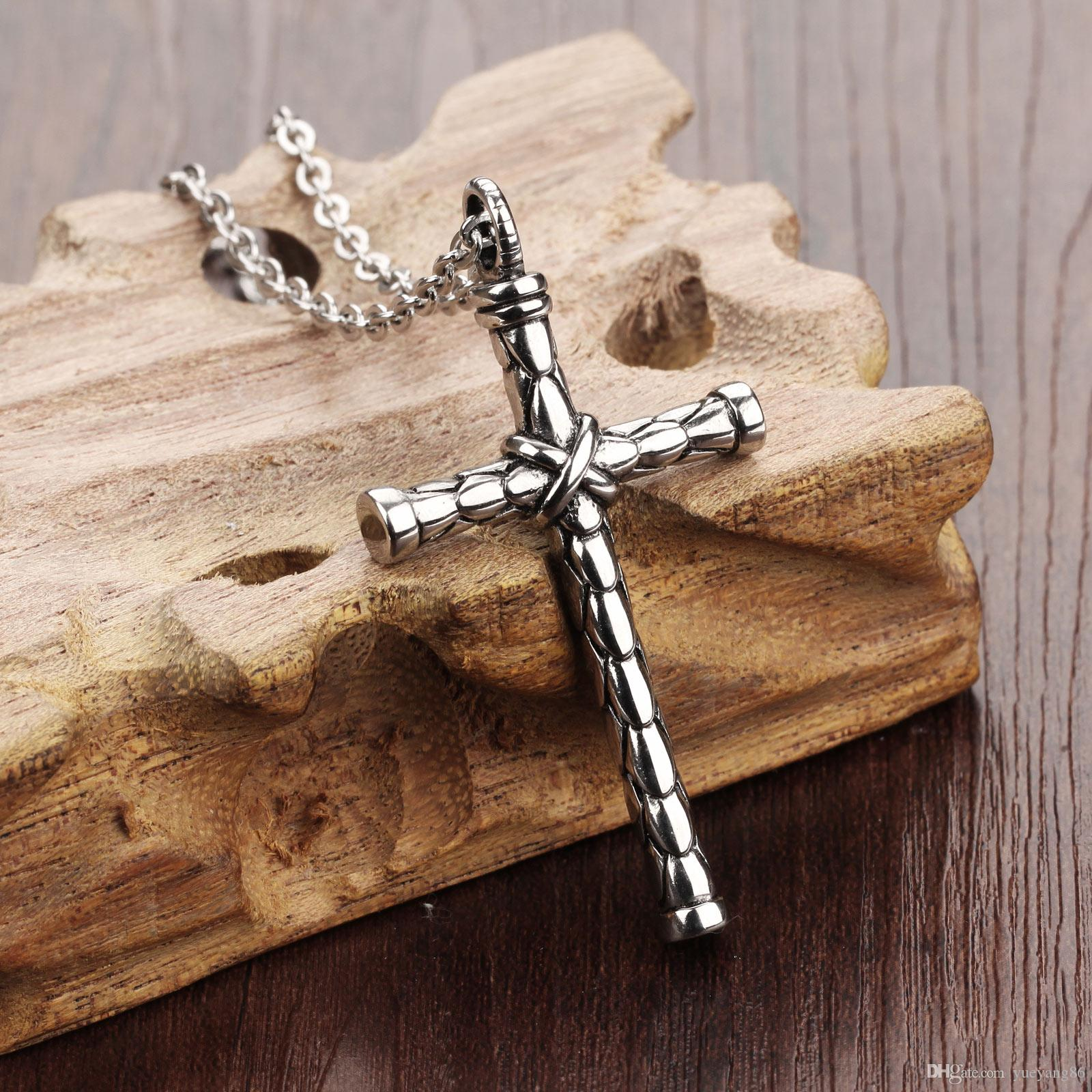 New Biker Stainless Steel Vintage Cross Necklace Pendant Free Chain Men's Fashion Jewelry High Quality