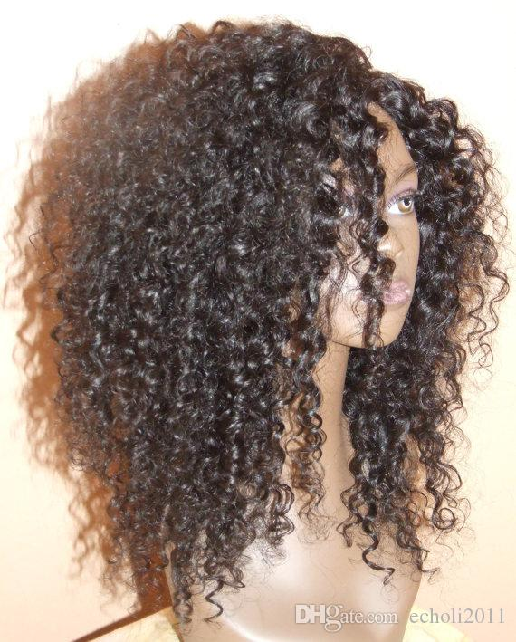 Hot charming curly wig 250/300 density Human Hair Wig Kinky Curly Full Wigs With Bangs In Stock