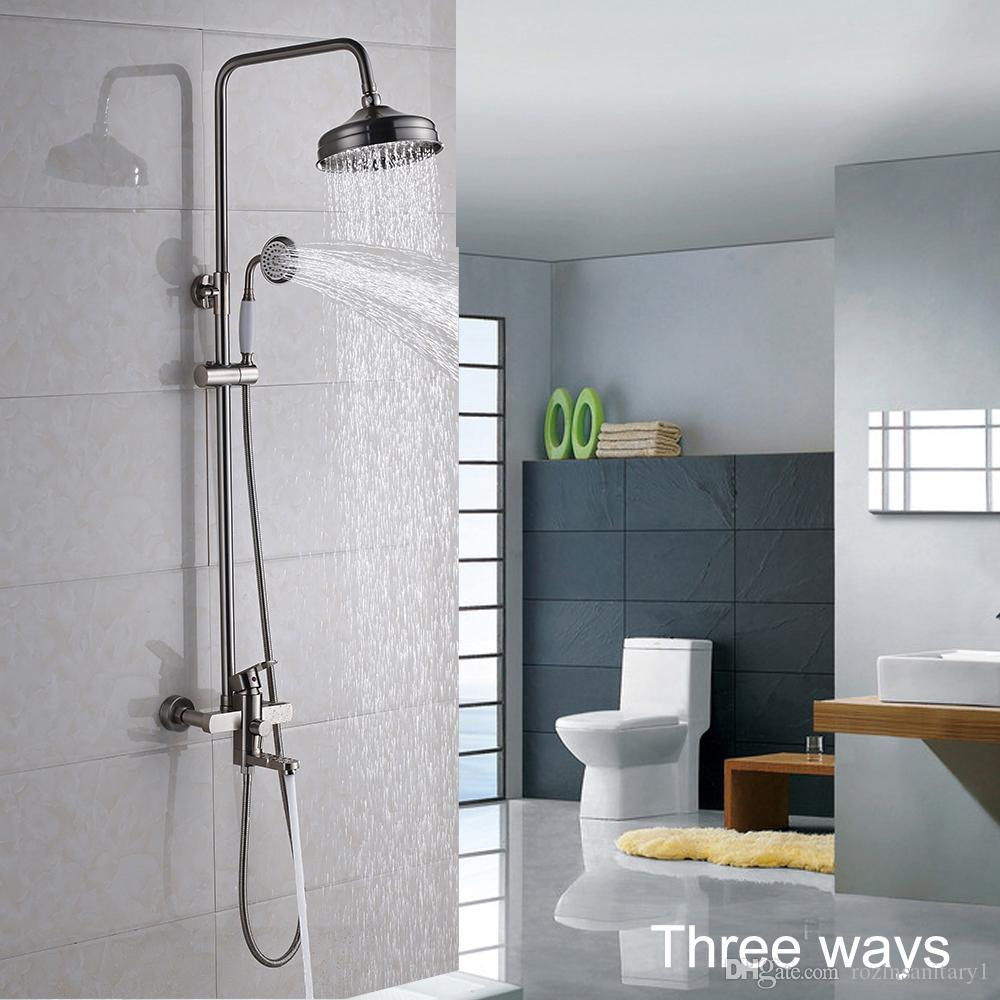 2018 8\'\' Brushed Nickel Shower Faucet Tub Hand Shower Head Mixer Tap ...