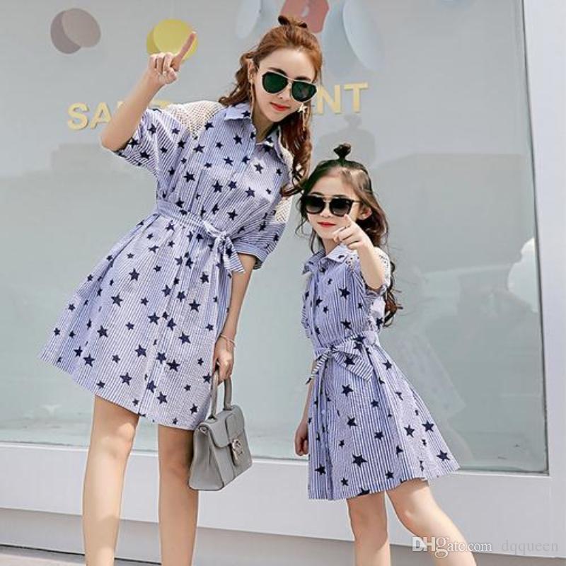 6a3426bd0e626 2017 Summer Family Matching Daughter Dresses Star Shirt Dress New Kids  Clothing Casual Mother Daughter Dresses Clothes
