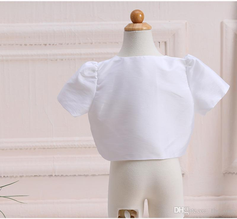 Flower Dress Matching Girls Shawl Outcoat For Wedding Princess Formal Girl Clothes Suit Plain White Cotton Kid Coat