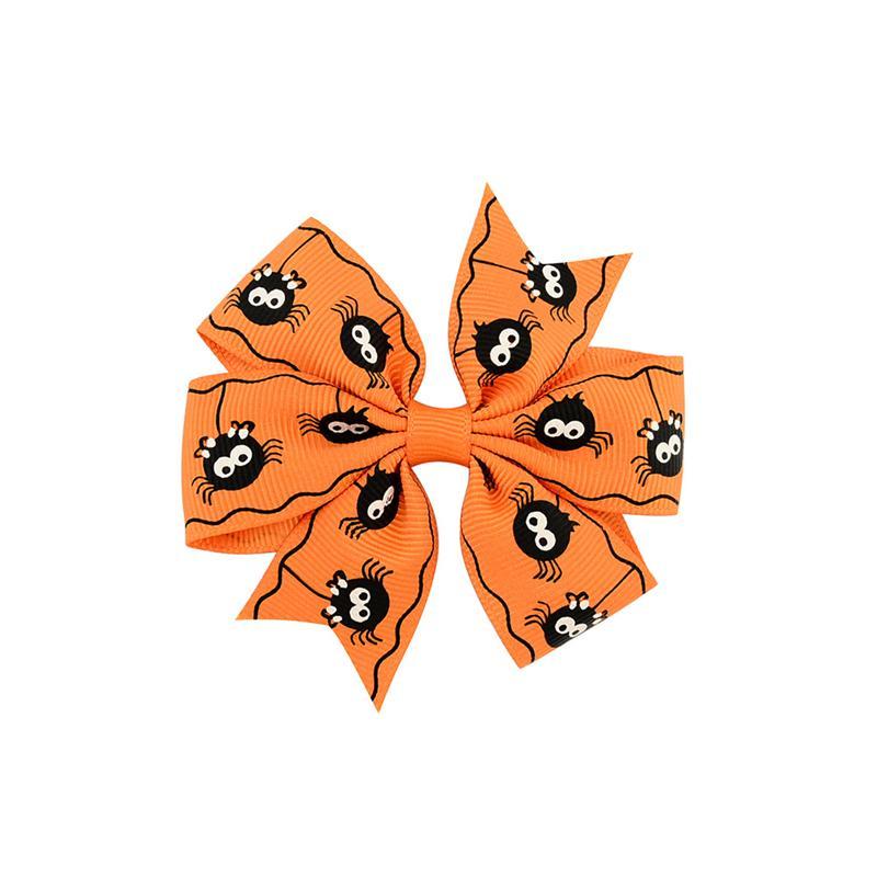 3 Zoll Baby Halloween Barrettes Grosgrain Ribbon Bögen mit Clip Girls Kids Ghost Kürbis Kinder Mädchen Pinnwheel Haarspangen Haarnadel Zubehör KFJ105