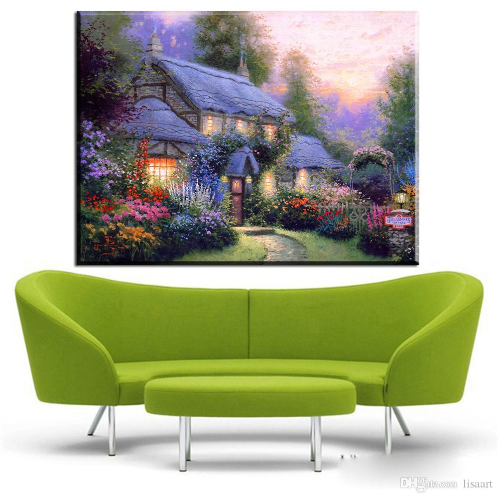 ZZ433 thomas kinkade cottage beautiful garden landscape canvas oil art painting wall pictures for livingroom bedroom decoration