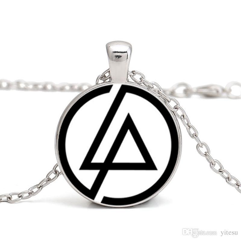 2017 Fãs de Moda Linkin Park Logotipo Colar de Jóias 25 MM Abóbada De Vidro Lincoln Park Band Colares Para Presentes Do Partido Dos Homens cadeia Gargantilha