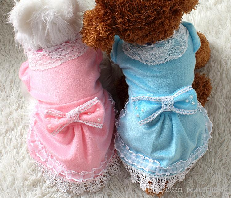 D16 Sweety Summer Pet Dog dresses Pink Lace Pearl Princess Skirts for Puppy dogs Cats Lovely Dogs Spring dresses cloting