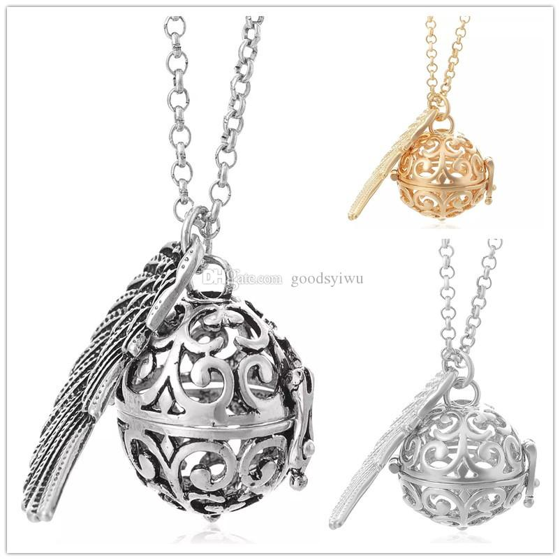 3 Colors 16MM Harmony Chime Bell Ball Angel Ball Pendants Jewelry Necklace Copper Harmony Caller Musical Pregnancy Pendant Necklace