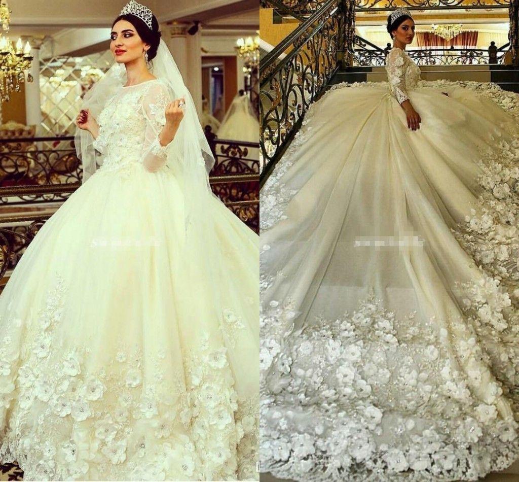 2017 luxury arabic ball gown wedding dresses jewel neck long sleeves