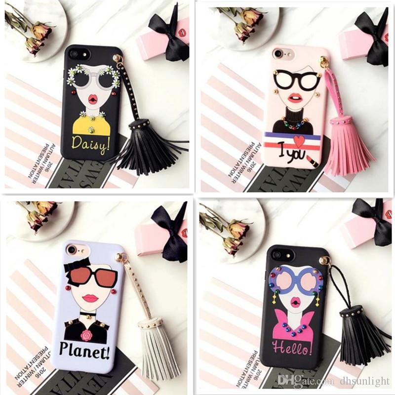 fd80a825642 Fashion Korean Modern Cute Girl Goddess Tassel Rivets Cell Phone Case 3D  Soft TPU Sunglasses Silicone Back Cover Skin For Iphone 7 6S Plus Heavy  Duty Cell ...