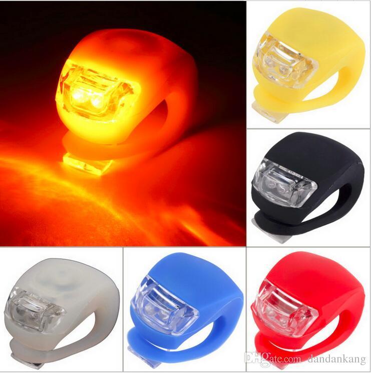 6 cores cabeça bicicleta Luzes LED LED flash Silicone Ciclismo principal da parte dianteira da roda traseira Lâmpada Luz noite de bicicleta luzes Warnning