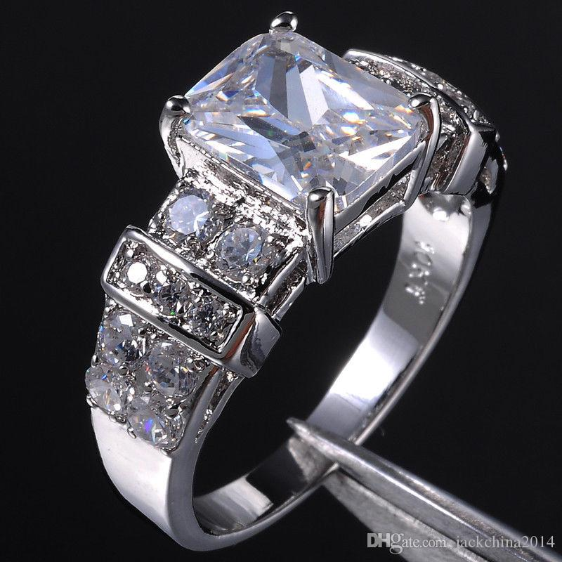 2017 New Arrival Cool Desgin Luxury Jewelry 10KT White Gold Filled White Topaz CZ Diamond Gemstones Princess Wedding Band Ring Gift Size5-11