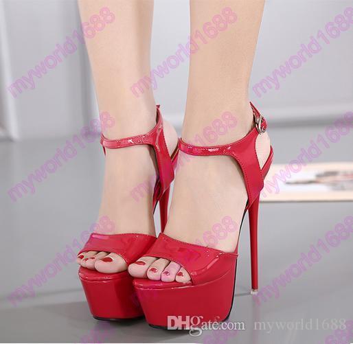 16см супер высокой пятки платформы шпильках красные свадебные туфли женщины сандалии размер 34 до 40