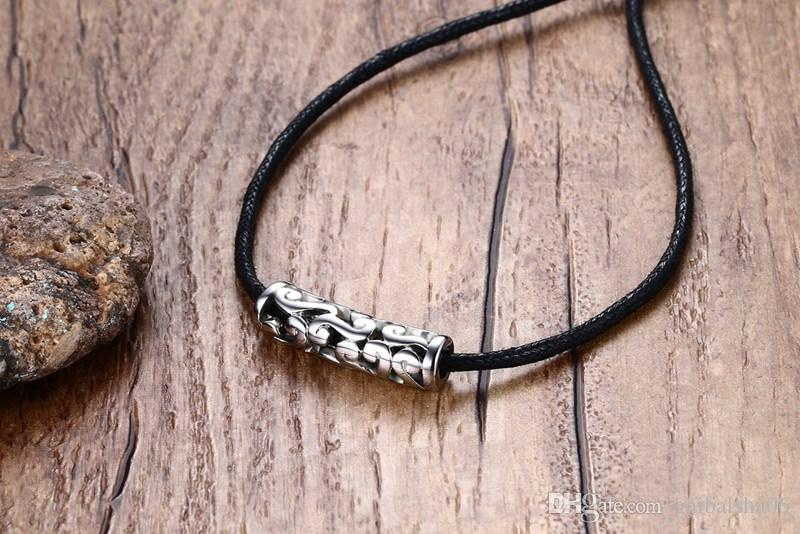 Hombres Mujeres Gargantilla Collares Hueco de Acero Inoxidable Trenzado Cordón Negro Cuerda Collar de Cadena de Joyería de Moda de La Vendimia NC-217