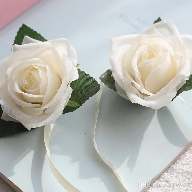 высокое качество 7.5 см белая роза реального шелка и атласа искусственные розы цветы букеты для дома Дизайн шляпа пляжная обувь свадебные фестивали