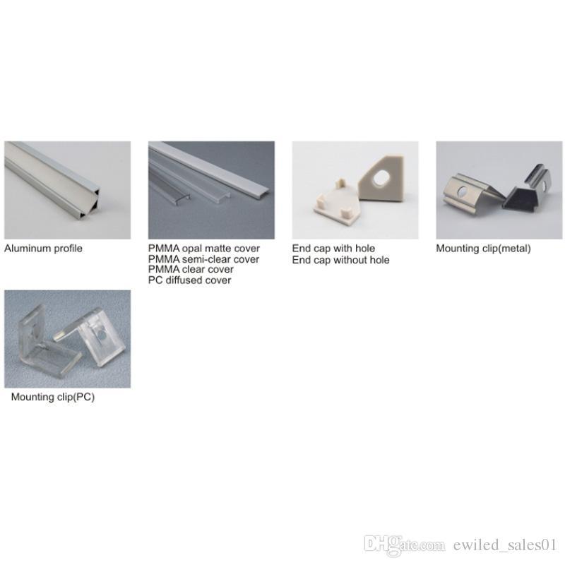 50 X 1M set / lotto Profilo in alluminio con angolo di 30 gradi e canale angolare a V cucina o lampade a led
