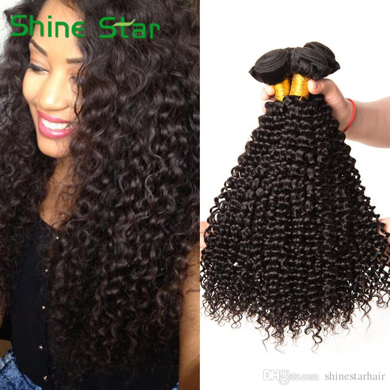 8a Brazilian Deep Wave Human Hair Bundles Kinky Curly Weave Weft