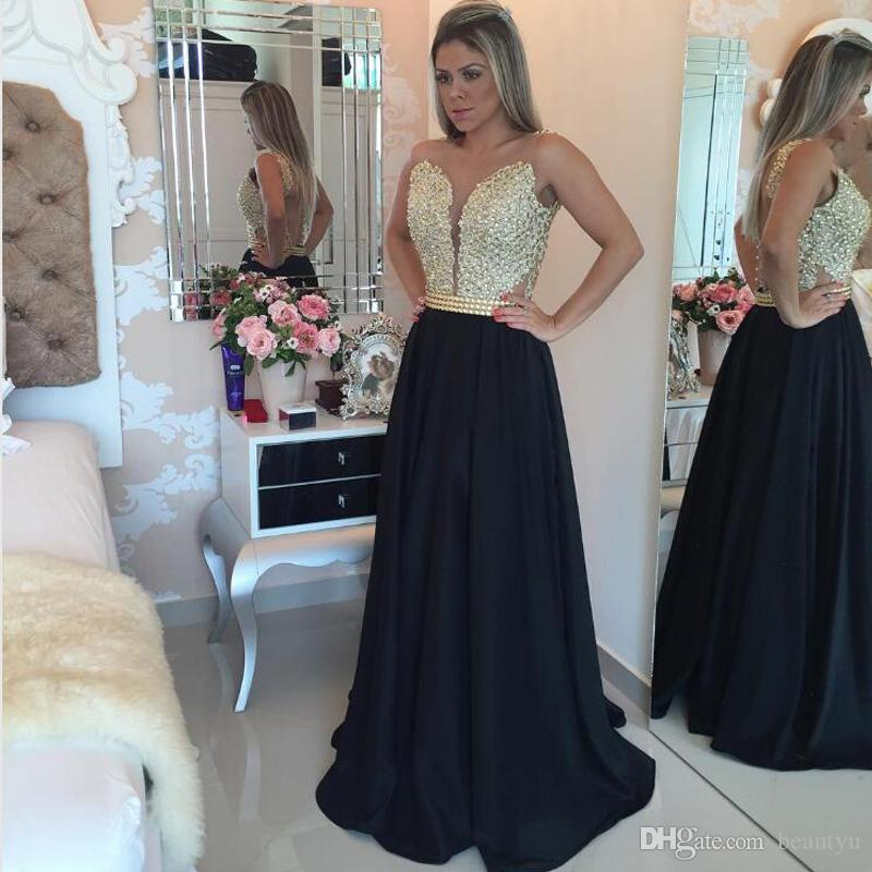 Black And Gold Prom Dresses Cheap Fast Shipping 2018 Arabic ...