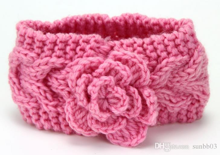 Automne chaud d'hiver en Europe Bébé fleur tricotée Bandeaux Filles Bandeaux Childrens chaud Crochet Accessoires cheveux Belle enfants Headwrap 8 Couleur