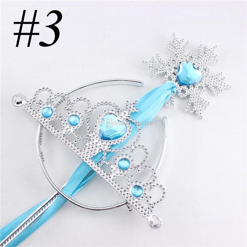 Snowflake ribbon wands crown set fairy wand girl Christmas party snowflake gem sticks magic wands headband princess crown tiara colorful