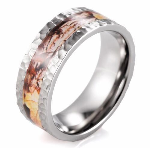 New 2017 Hammered Titanium Fall Camo Wedding Ring Outdoor Wedding