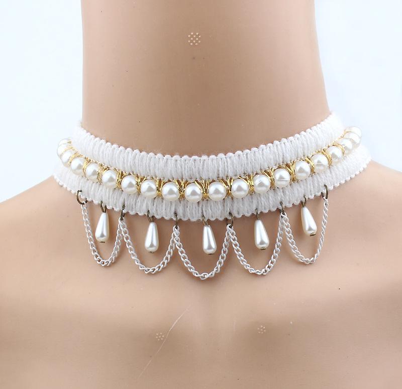 2017 hot Women Black Beads Pendant Crystal Bib Chain Jewelry Sexy Lace Choker Necklace