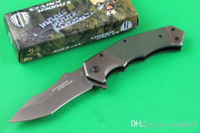 Strider MICK 352 Stonewashed Tactical Couteau Pliant 440C 57HRC G10 Poignée Camping Chasse Survie Pocket Couteau Militaire EDC Outils