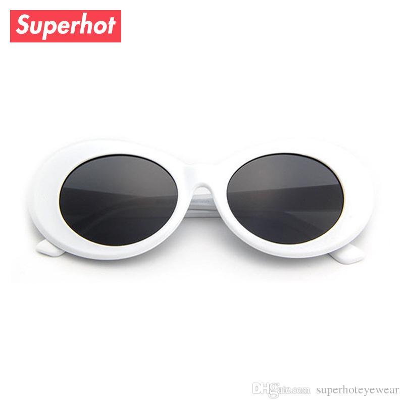 2362a4fda76f3 Compre Clout Goggles Retro Vintage Branco Oval Óculos De Sol Das Mulheres  Dos Homens Óculos De Sol NIRVANA Kurt Cobain Shades UV400 D0197 De  Superhoteyewear ...