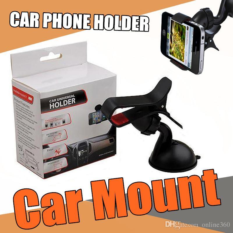 Support de voiture universel de support de pare-brise pour téléphone portable de téléphone portable monte un support de support pour Iphone 6s plus 6s, Samsung galaxie S6 bord S6