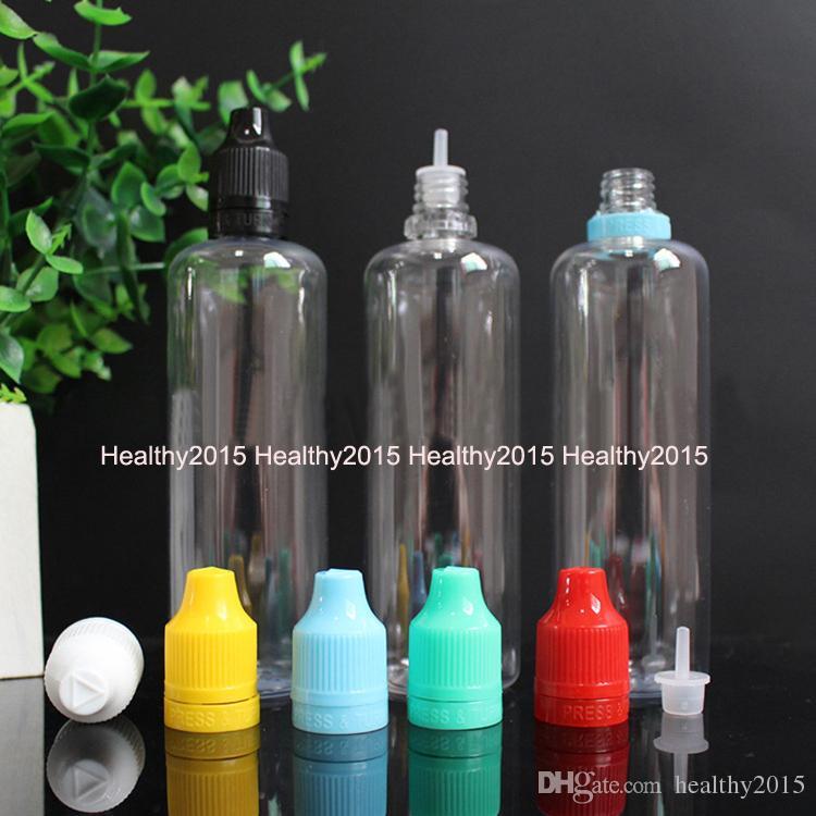 Frete Grátis 100 ml De Plástico E-cig E-líquido Conta-gotas Garrafas PET Vazias Com Colorido Tamper À Prova de Capuz Para Crianças Pontas Longas Conta-gotas Na China