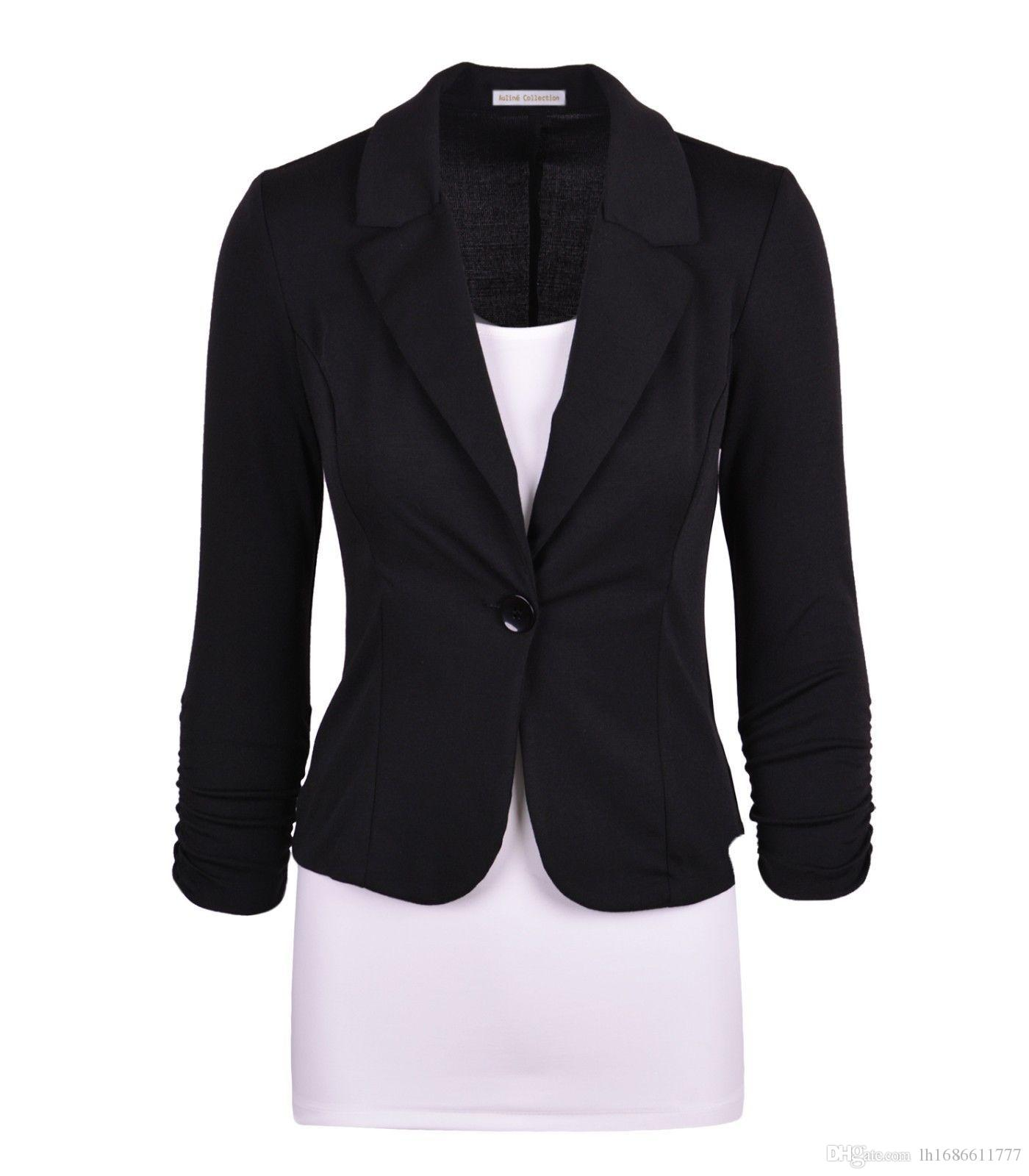 The new 2017 cultivate one's morality a grain of buckle suit jacket in Europe and the female jacket