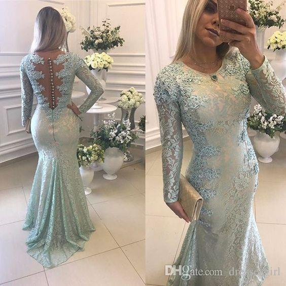 Sage Charming Mermaid Abendkleider mit langen Ärmeln Spitze Appliqued formale Kleider Abschlussball-Partei-Kleid Covered Button Zug Schleife