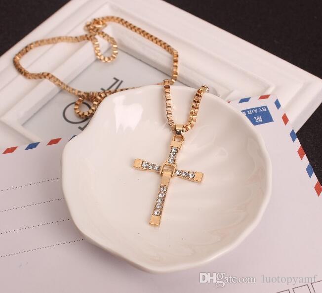 Человек ожерелье мужской Cool Cross Choker Link Ожерелья серебряный золотой цвет из нержавеющей стали
