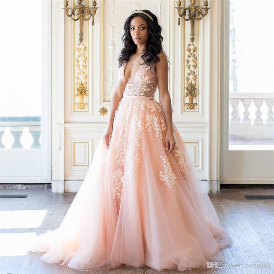 Discount Sexy Deep V Neck Long Peach Wedding Dresses With Applique
